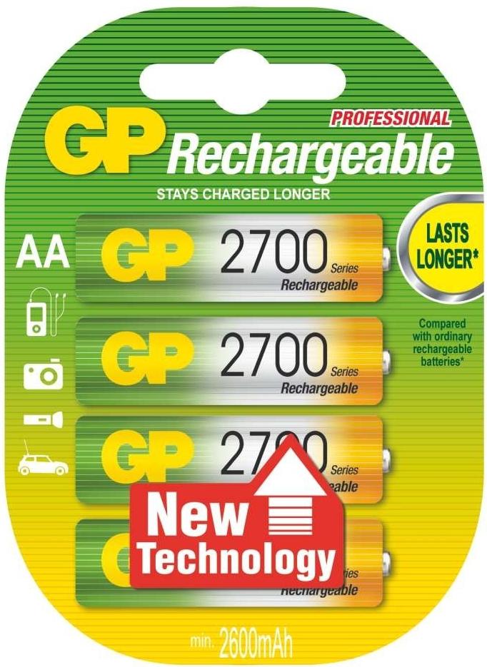 Nabíjecí baterie GP NiMH2700 HR6 (AA), 4 ks v blistru