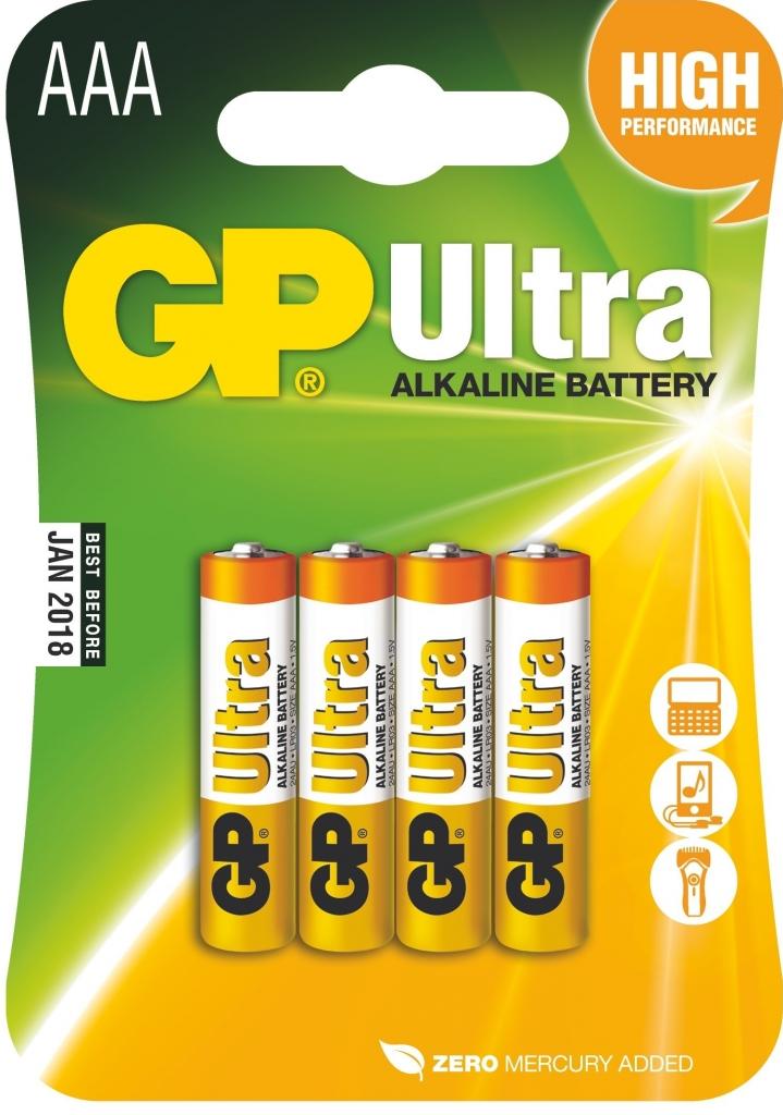 Alkalická baterie GP Ultra LR03 (AAA), 4 ks v blistru
