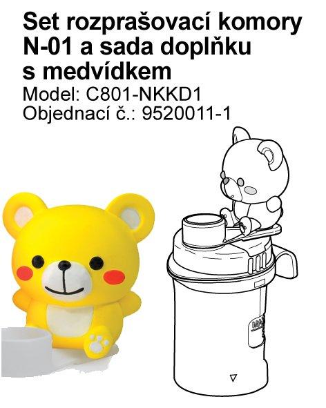 Set (rozprašovací komora bez náustku) vč. doplňku s medvídkem k inhalátoru OMRON C801-KD