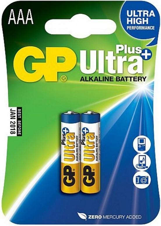 Alkalická baterie GP Ultra Plus LR03 (AAA), 2 ks v blistru