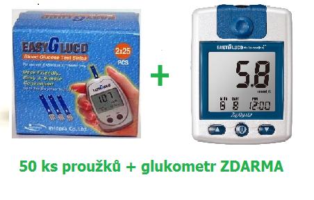 Testovací proužky pro glukometr EasyGluco 50ks + ZDARMA glukometr EASYGLUCO