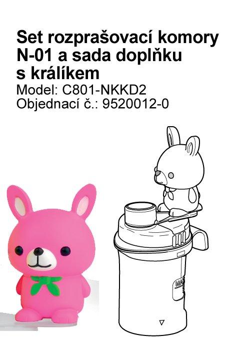 Set (rozprašovací komora bez náustku) vč. doplňku s králíčkem k inhalátoru OMRON C801-KD