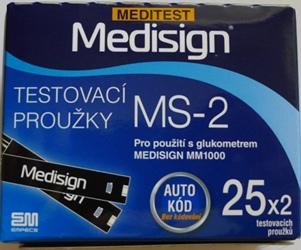 Testovací proužky pro glukometr Meditest Medisign MS-2 50ks